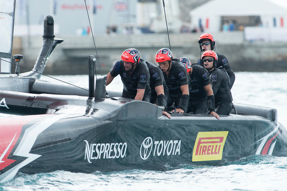 The Great Sound, Bermuda. 10th June 2017. Emirates Team New Zealand beat Artemis Racing (SWE) in the third race of the Louis Vuitton America's Cup Challenger playoff finals taking the score to 2 - 1.