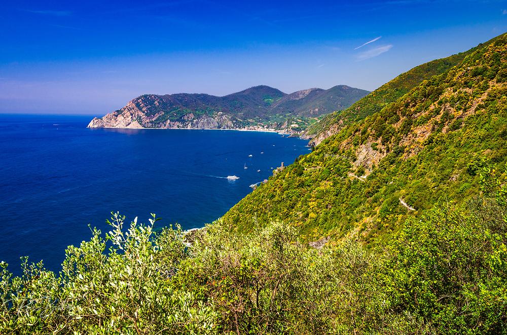 The Ligurian Sea from the Sentiero Azzurro (Blue Trail) near Vernazza, Cinque Terre, Liguria, Italy