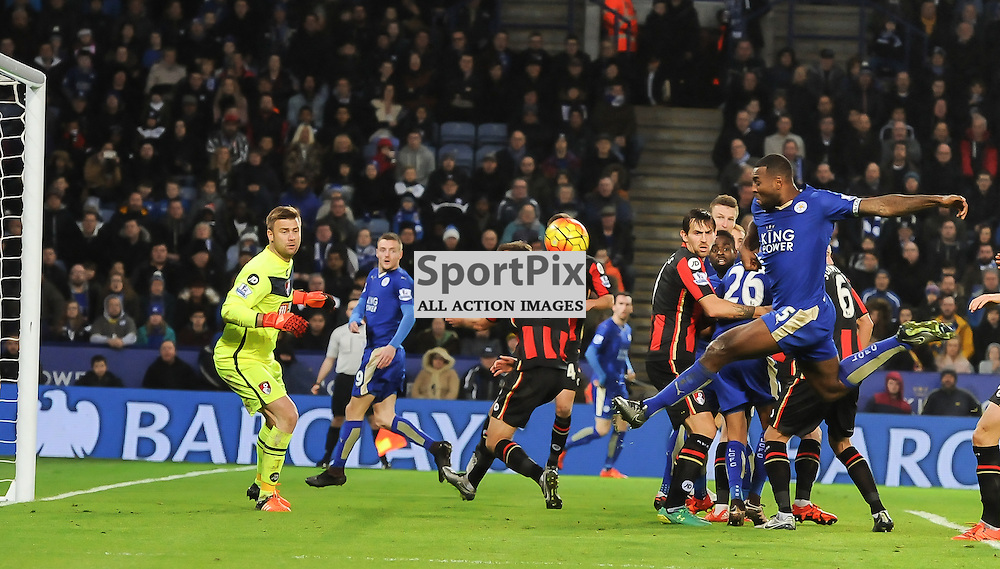 Wes Morgan skies a second half chance as Leicester apply pressure on the Bournemouth goal (c) Simon Kimber | SportPix.org.uk