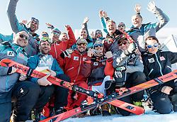 19.02.2017, St. Moritz, SUI, FIS Weltmeisterschaften Ski Alpin, St. Moritz 2017, Slalom, Herren, Siegerehrung, im Bild v.l. Marcel Hirscher (AUT, Herren Slalom Weltmeister und Goldmedaille), Manuel Feller (AUT, Herren Slalom Silbermedaille) mit Team // f.l. men's Slalom world Champion and Gold medalist Marcel Hirscher of Austria men's Slalom Silver medalist Manuel Feller of Austria with Team during the winner Ceremony for the men's Slalom of the FIS Ski World Championships 2017. St. Moritz, Switzerland on 2017/02/19. EXPA Pictures © 2017, PhotoCredit: EXPA/ Johann Groder