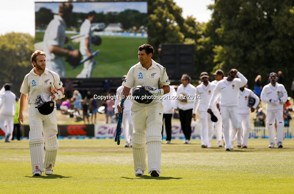 Kane Williamson and Ross Taylor leave the field at the end of the match. Day 4, ANZ Boxing Day Cricket Test, New Zealand Black Caps v Sri Lanka, 29 December 2014, Hagley Oval, Christchurch, New Zealand. Photo: John Cowpland / www.photosport.co.nz