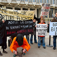 London Feb 17 Protestors gather outside the US embassy today to call for the release of British resident Binyam Mohamed.The demonstrators, dressed in the orange jumpsuits worn by inmates at Guantanamo Bay, say Mr Mohamed needs to be returned to the UK immediately given his medical condition. ...Standard Licence feee's apply  to all image usage.Marco Secchi - Xianpix tel +44 (0) 845 050 6211 .e-mail ms@msecchi.com .http://www.marcosecchi.com