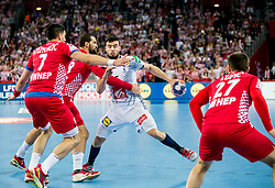 Marko Kopljar of Croatia vs Nadim Remili of France during handball match between National teams of Croatia and France on Day 7 in Main Round of Men's EHF EURO 2018, on January 24, 2018 in Arena Zagreb, Zagreb, Croatia.  Photo by Vid Ponikvar / Sportida