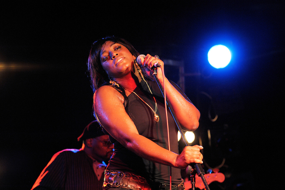 Mica Paris, English soul blues singer performing in the main stage marquee. Maryport Blues Festival, 2010. Cumbria, England