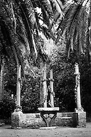 Kroatia 2012-06.<br /> Parken på Lopud har mange interessante objekter, her en gammel benk og et bord med noen søyler bak. Sannsynligvis har søylene en gang holdt oppe et tak.<br /> Foto: Svein Ove Ekornesvåg