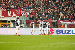 February 18, 2018 - Turin, Piedmont, Italy - Alex Sandro  (Juventus FC) celebrates withe teammates after scoring during the Serie A football match between Torino FC and Juventus FC at Olympic Grande Torino Stadium  on 18 February, 2018 in Turin, Italy. (Credit Image: © Massimiliano Ferraro/NurPhoto via ZUMA Press)