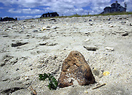 A rock sits in the sand on the beach, Wednesday, August 7, 2002, in Cape May, New Jersey. (Photo by William Thomas Cain/photodx.com)