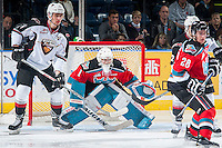 KELOWNA, CANADA - NOVEMBER 11: Radovan Bondra #41 of Vancouver Giants looks for the pass in front of the net of Jackson Whistle #1 of Kelowna Rockets on November 11, 2015 at Prospera Place in Kelowna, British Columbia, Canada.  (Photo by Marissa Baecker/ShoottheBreeze)  *** Local Caption *** Radovan Bondra; Jackson Whistle;