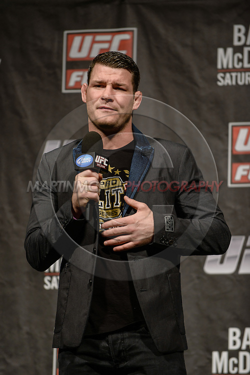 """LONDON, ENGLAND, FEBRUARY 15, 2013: Middleweight fighter Michael Bisping fields questions during the """"Fight Club"""" Q&A session ahead of the weigh-ins for UFC on Fuel TV 7 inside Wembley Arena in London, England on Friday, February 15, 2013 © Martin McNeil"""