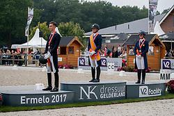 Podium Young Riders,Donkers Esmee, De Koyer Jasmien, Bernosky Robin, NED<br /> Nederlands Kampioenschap Dressuur <br /> Ermelo 2017<br /> © Hippo Foto - Dirk Caremans<br /> 16/07/2017