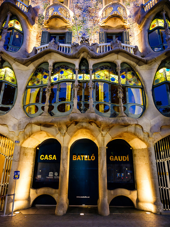 BARCELONA, SPAIN - CIRCA MAY 2018: Outside view of Casa Batlló, a famous building in the center of Barcelona designed by Antoni Gaudi. Facade View.