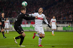 December 8, 2017 - Stuttgart, Germany - Stuttgarts Anastasios Donis in a duel with Leverkusens Panagiotis Retsos during the Bundesliga match between VfB Stuttgart and Bayer 04 Leverkusen at Mercedes-Benz Arena on December 8, 2017 in Stuttgart, Germany. (Credit Image: © Bartek Langer/NurPhoto via ZUMA Press)