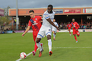 AFC Wimbledon defender, on loan from Bristol City, Karleigh Osborne   and York City forward, on loan from Oldham Athletic, Rhys Turner during the Sky Bet League 2 match between York City and AFC Wimbledon at Bootham Crescent, York, England on 24 October 2015. Photo by Simon Davies.