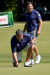 Ole Miss head football coach Matt Luke lines up a putt during the Chick-fil-A Peach Bowl Challenge at the Ritz Carlton Reynolds, Lake Oconee, on Tuesday, April 30, 2019, in Greensboro, GA. (Paul Abell via Abell Images for Chick-fil-A Peach Bowl Challenge)