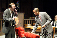(from left) J. Gary Thompson, Duante Beddingfield and Saul Caplan during a dress rehearsal of A Case of Libel at the Dayton Theatre Guild in Dayton, Wednesday, May 19, 2010.