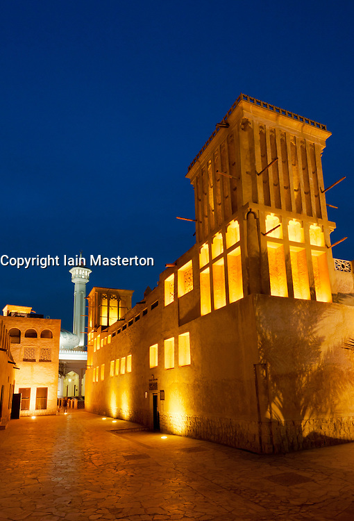 Bastakia Quarter at night Bur Dubai, Dubai, United Arab Emirates, UAE