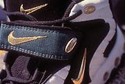 Close up of Nike logo on Nike trainer.