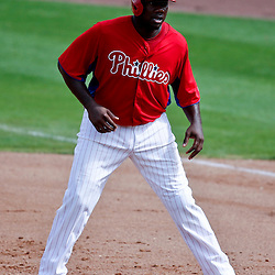 Feb 26, 2013; Clearwater, FL, USA; Philadelphia Phillies first baseman Ryan Howard (6) against the New York Yankees during a spring training game at Bright House Field. Mandatory Credit: Derick E. Hingle-USA TODAY Sports