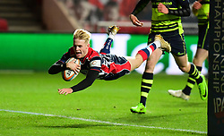 Mat Protheroe of Bristol Rugby scores  - Mandatory by-line: Alex Davidson/JMP - 08/12/2017 - RUGBY - Ashton Gate Stadium - Bristol, England - Bristol Rugby v Leinster 'A' - B&I Cup