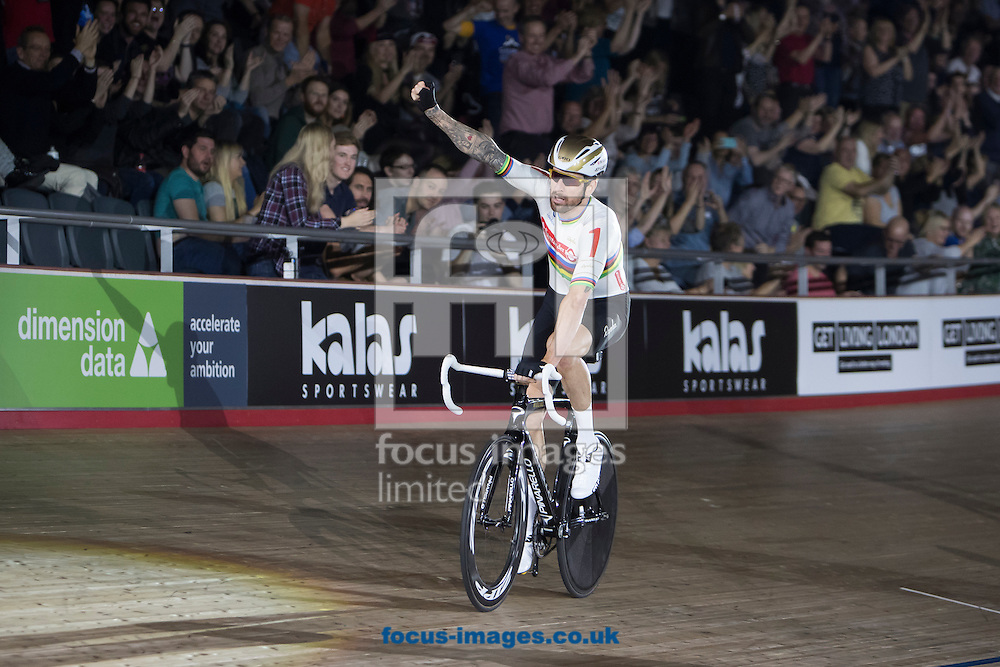 Sir Bradley Wiggins celebrates victory in the mens Derny race on day six of the Six Day cycling series at Lee Valley VeloPark, London, UK<br /> Picture by Ryan Dinham/Focus Images Ltd +44 7900 436859<br /> 30/10/2016