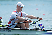 Belgrade, SERBIA,NOR M2X, Stroke Kjetil BORCH,waiting at the start for their heat at the 2014 FISA European Rowing Championships. Lake Sava. <br /> <br /> <br /> 11:00:01  Friday  30/05/2014<br /> <br /> [Mandatory Credit; Peter Spurrier/Intersport-images]