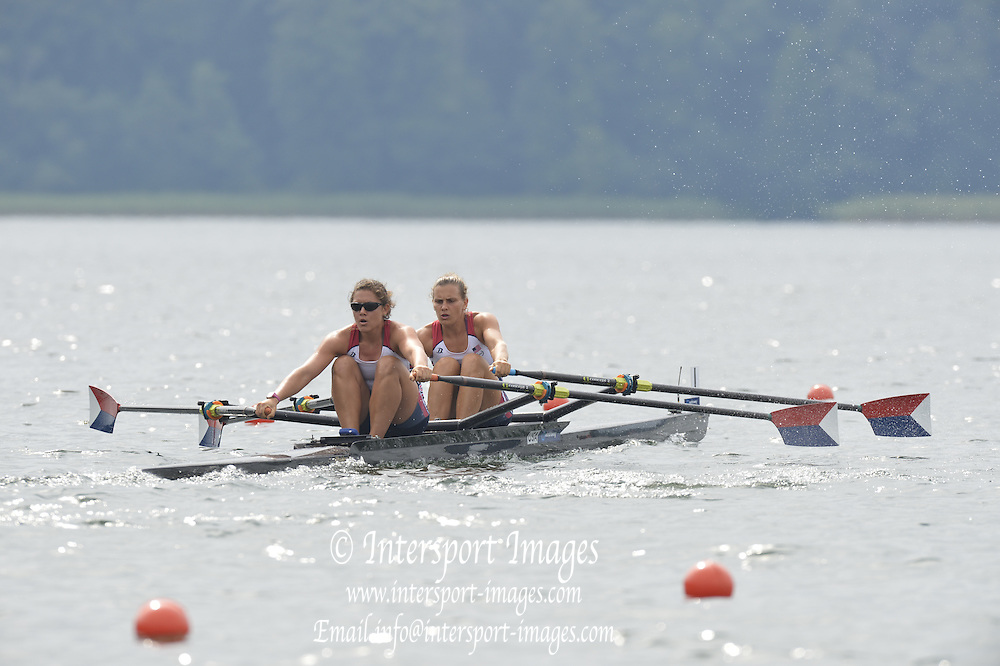 Trackai. LITHUANIA.  USA W2X, Bow, Cara LINNENKOHL and Carli GOLDBERG,  2012 FISA U23 Rowing Championships, Lake Galve.   10:40:11 Thursday 12/07/2012 [Mandatory credit: Peter Spurrier/Intersport Images]..Rowing, U23, 2012.