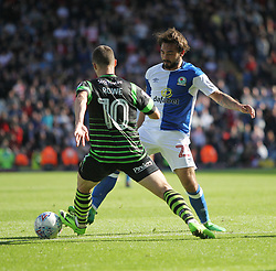 Tommy Rowe of Doncaster Rovers (L) and Bradley Dack of Blackburn Rovers in action - Mandatory by-line: Jack Phillips/JMP - 12/08/2017 - FOOTBALL - Ewood Park - Blackburn, England - Blackburn Rovers v Doncaster Rovers - English Football League One
