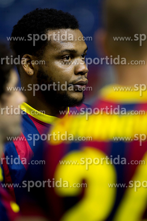 09.11.2013, Palau Blaugrana, Barcelona, ESP, Liga ASOBAL, FC Barcelona vs Frigorificos Morrazo, 9. Runde, im Bild FC Barcelona's Cedric Sorhaindo // FC Barcelona's Cedric Sorhaindo during the spanish Handball league ASOBAL 9th round match between FC Barcelona and Frigor&iacute;ficos at the Palau Blaugrana in Barcelona, Spain on 2013/11/10. EXPA Pictures &copy; 2013, PhotoCredit: EXPA/ Alterphotos/ Alex Caparros<br /> <br /> *****ATTENTION - OUT of ESP, SUI*****