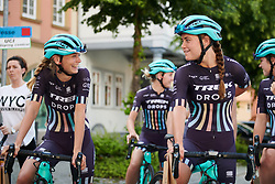 Eva Buurman (NED) and Abby-Mae Parkinson (GBR) share a joke at Lotto Thuringen Ladies Tour 2018 - Stage 1, an 82.5 km road race starting and finishing in Schleusingen, Germany on May 28, 2018. Photo by Sean Robinson/Velofocus.com