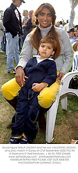 Social figure MALA LINDSAY and her son VALENTINE LINDSAY, at a polo match in Surrey on 21st September 2002.	PDJ 93
