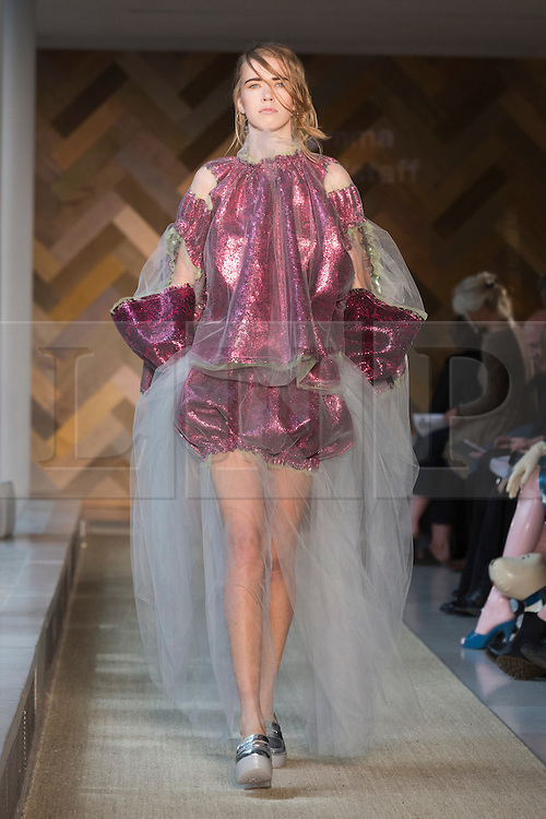 © Licensed to London News Pictures. 29/05/2014. London, England. Collection by Emma Hardstaff. 30 students of the Royal College of Art's prestigious MA Fashion programme presented their final collections in  a runway show at the RCA building in Kensington. Photo credit: Bettina Strenske/LNP