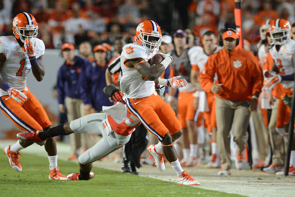 January 3, 2014: Sammy Watkins #2 of Clemson is forced out of bounds by Tyvis Powell #23 of Ohio State during the NCAA football game between the Clemson Tigers and the Ohio State Buckeyes at the 2014 Orange Bowl in Miami Gardens, Florida. The Tigers defeated the Buckeyes 40-35.