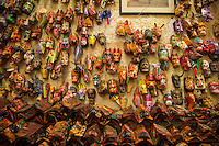 Antigua, Guatemala - March 07, 2015:  Ceremonial masks on display at Nim Pot, a sprawling market in the heart of Antigua that offers a large variety of traditional Guatemalan handcrafts. CREDIT: Chris Carmichael for The New York Times