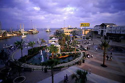 Aerial evening view of the Kemah boardwalk