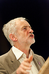 © Licensed to London News Pictures. 05/10/2015. Manchester, UK. Jeremy Corbyn gives a rousing speech to a gathering of several thaousand at Manchester Cathedral. A week of pro-peace, anti-austerity, anti-war, anti-Tory, protests dubbed 'Take Back Manchester' has been  organised by The People's Assembly and timed to coincide with the Conservative Party Conference in Manchester on 4th - 7th Oct 2015. Over 40 events are planned, including a speech by new Labour leader Jeremy Corbyn timed to compete with closing speech of Tory leader David Cameron. Photo credit: Graham M. Lawrence/LNP