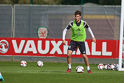 NEWPORT, WALES - Wednesday, October 8, 2014: Wales' Ben Davies training at Dragon Park National Football Development Centre ahead of the UEFA Euro 2016 qualifying match against Bosnia and Herzegovina. (Pic by David Rawcliffe/Propaganda)