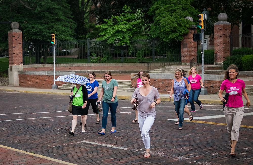 Participants arrive before the start of the first ever OU Women Portrait on Tuesday, June 23, 2015. Over 300 women participated in the photo.  Photo by Ohio University  /  Rob Hardin