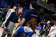 Giulia Cicchinè, Andrea Meneghin<br /> A X Armani Exchange Olimpia Milano - Vanoli Cremona<br /> Quarti di finale<br /> LBA Legabasket Serie A Final 8 Coppa Italia 2019-2020<br /> Pesaro, 13/02/2020<br /> Foto L.Canu / Ciamillo-Castoria