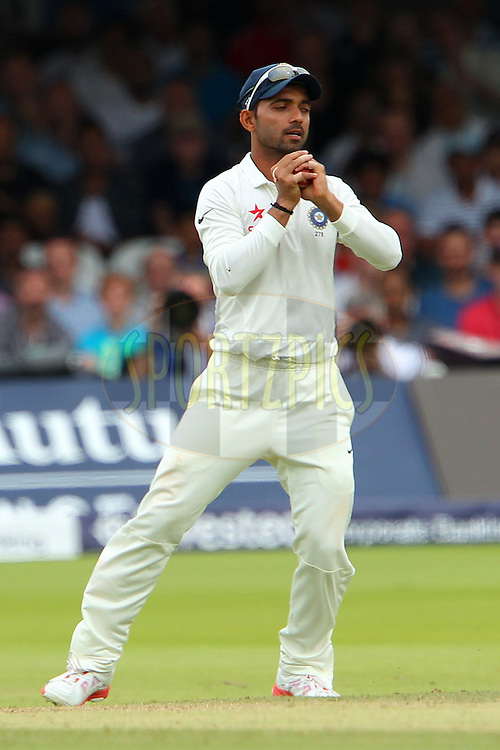 Ajinkya Rahane of India takes the catch to dismiss James Anderson of England during day three of the 2nd Investec test match between England and India held at Lords cricket ground in London, England on the 19th July 2014<br /> <br /> Photo by Ron Gaunt / SPORTZPICS/ BCCI