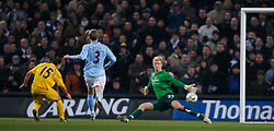 MANCHESTER, ENGLAND - Tuesday, December 18, 2007: Manchester City's goalkeeper Joe Hart is beaten by Tottenham Hotspur's Steed Malbranque for the second goal during the League Cup Quarter Final match at the City of Manchester Stadium. (Photo by David Rawcliffe/Propaganda)
