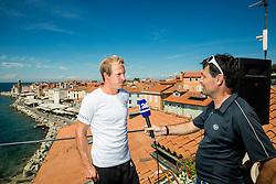 Grega Zemlja  interviewed by David Stropnik during press conference before ATP Challenger Tilia Slovenia Open 2016, on August 4, 2016 in Piran / Pirano, Slovenia. Photo by Vid Ponikvar / Sportida