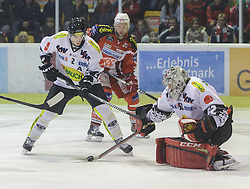 14.12.2014, Stadthalle, Klagenfurt, AUT, EBEL, EC KAC vs Dornbirner Eishockey Club, 27. Runde, im Bild Olivier Magnan (Dornbirner Eishockey Club, #2), Thomas Pöck (EC KAC, #22), Nathan Lawson (Dornbirner Eishockey Club, #52) // during the Erste Bank Icehockey League 27th round match betweeen EC KAC and Dornbirner Eishockey Club at the City Hall in Klagenfurt, Austria on 2014/12/14. EXPA Pictures © 2014, PhotoCredit: EXPA/ Gert Steinthaler