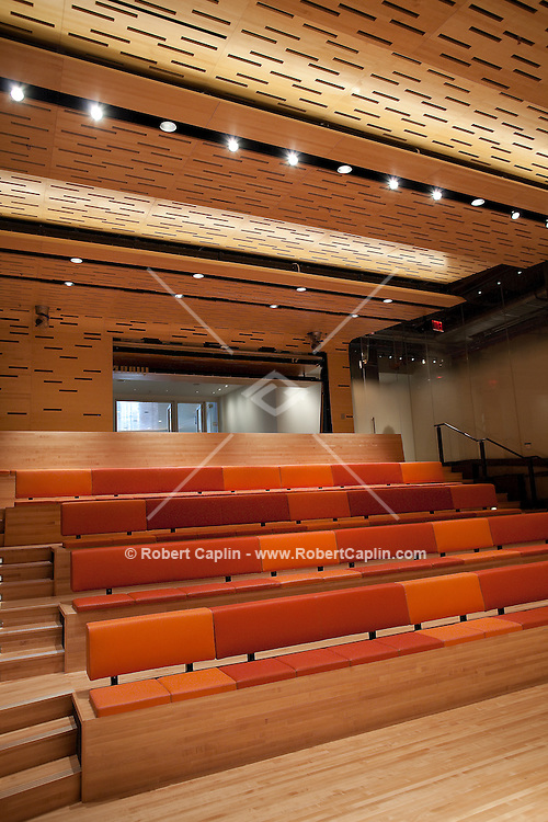 Screening rooms in the newly renovated Film Society building at Lincoln Center designed by architect David Rockwell.  ..Photo by Robert Caplin.