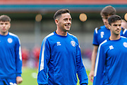 Rochdale captain Ian Henderson warms up before the EFL Sky Bet League 1 match between Rochdale and Sunderland at the Crown Oil Arena, Rochdale, England on 20 August 2019.