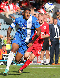 Peterborough United's Nathaniel Mendez-Laing in action with Crawley Town's Nicky Adams  - Photo mandatory by-line: Joe Dent/JMP - Tel: Mobile: 07966 386802 31/08/2013 - SPORT - FOOTBALL -  London Road Stadium - Peterborough - Peterborough United V Crawley Town - Sky Bet League One