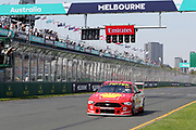 Scott McLaughlin (DJR Penske Shell Ford) crosses the line to win. Beaurepaires Supercars Melbourne 400, Virgin Australia Supercars Champiobship Round 2. 2019 Rolex Australian F1 Grand Prix, Albert Park Melbourne 14-16 March 2019. Photo Clay Cross / photosport.nz
