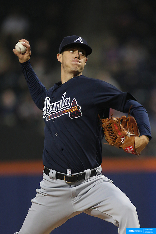 NEW YORK, NEW YORK - MAY 03:  Pitcher Matt Wisler #37 of the Atlanta Braves during the Atlanta Braves Vs New York Mets MLB regular season game at Citi Field on May 03, 2016 in New York City. (Photo by Tim Clayton/Corbis via Getty Images)