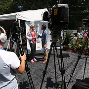 August 16, 2014, New Haven, CT:<br /> Eugenie Bouchard is interviewed by host Nick McCarvel during WTA All-Access Hour on day three of the 2014 Connecticut Open at the Yale University Tennis Center in New Haven, Connecticut Sunday, August 17, 2014.<br /> (Photo by Billie Weiss/Connecticut Open)