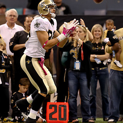 October 3, 2010; New Orleans, LA, USA; New Orleans Saints tight end Jimmy Graham (80) during warm ups prior to kickoff of a game between the New Orleans Saints and the Carolina Panthers at the Louisiana Superdome. Mandatory Credit: Derick E. Hingle