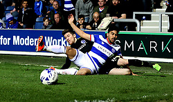 Sebastien Pocognoli of Brighton & Hove Albion tackles Massimo Luongo of Queens Park Rangers - Mandatory by-line: Robbie Stephenson/JMP - 07/04/2017 - FOOTBALL - Loftus Road - Queens Park Rangers, England - Queens Park Rangers v Brighton and Hove Albion - Sky Bet Championship